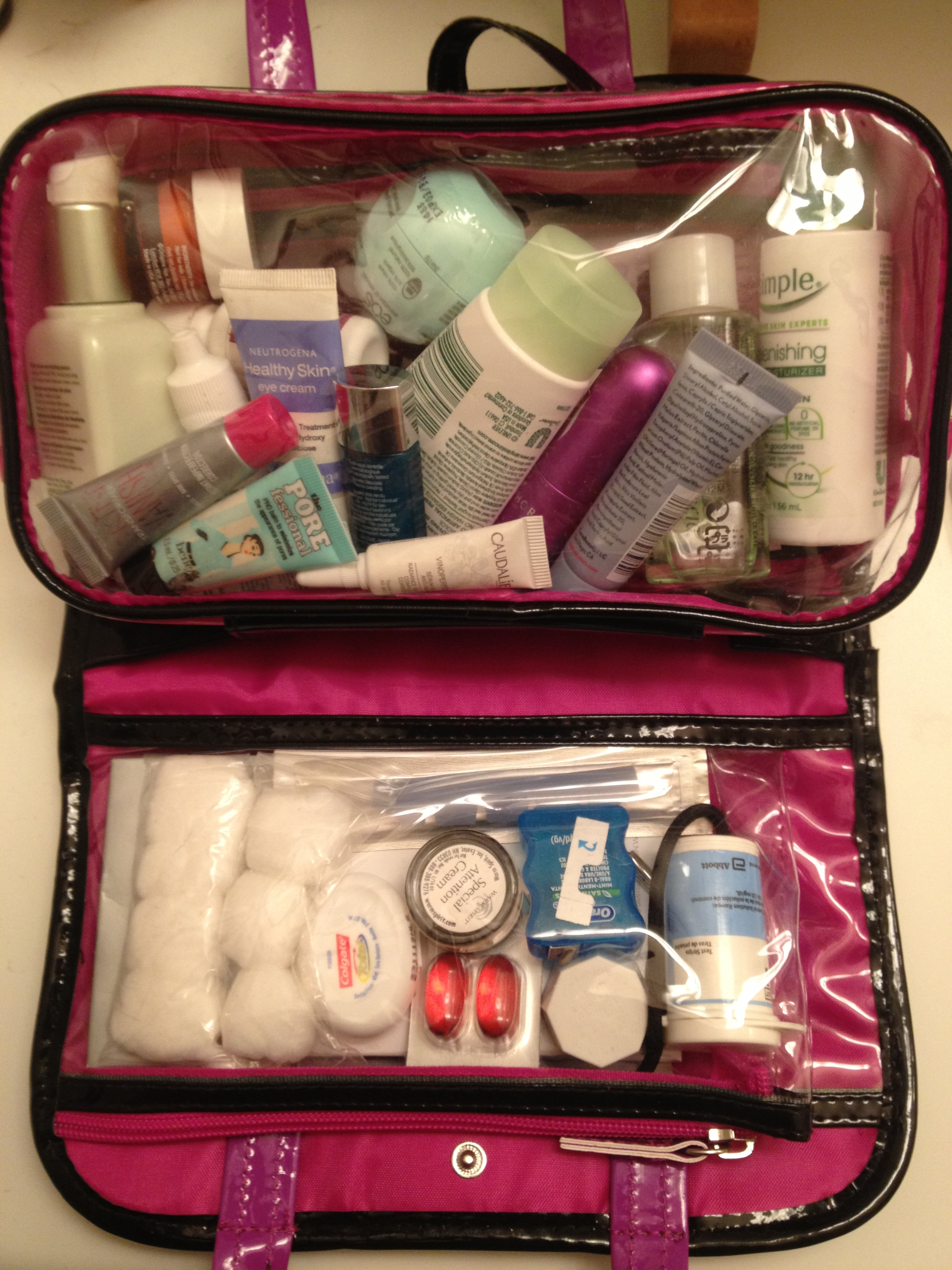 My travel kit includes my 3-1-1 bag which is removable from the rest of my toiletries bag. (Photo credit Wendie Burbridge).