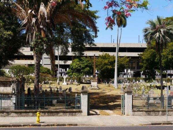 According to Kapanui— children's voices have been heard calling people by their first names from inside this downtown Honolulu cemetery. Photo Credit: Lopaka Kapanui