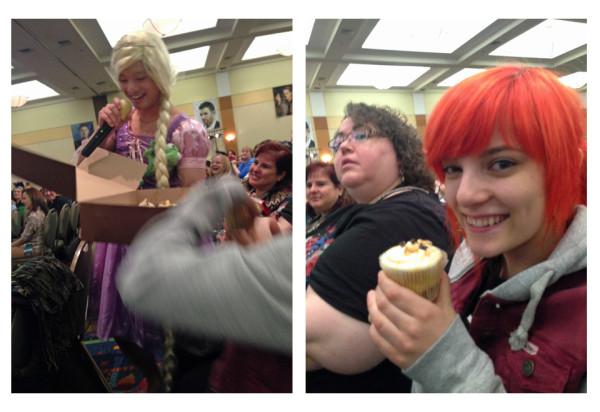 Angie Siketa gets a cupcake from Osric Chau.