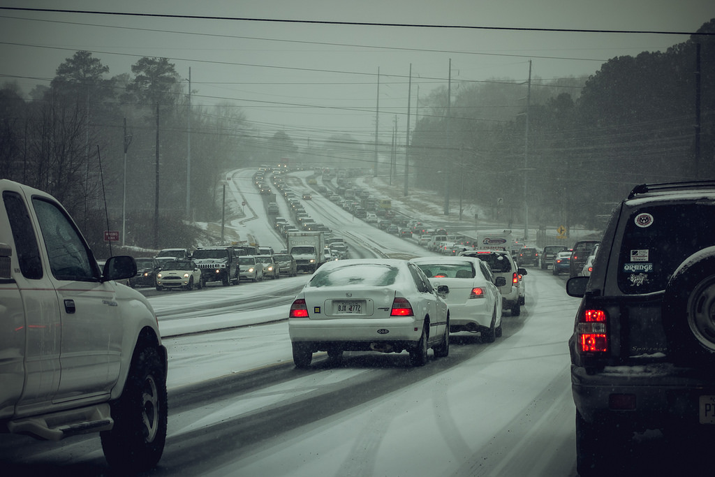 "Waiting for the zombies: Traffic on ""Snowpocalypse"" Day, January 28, 2014, Atlanta. (Photo Credit William Brawley under a Creative Commons Attribution 2.0 Generic License)"