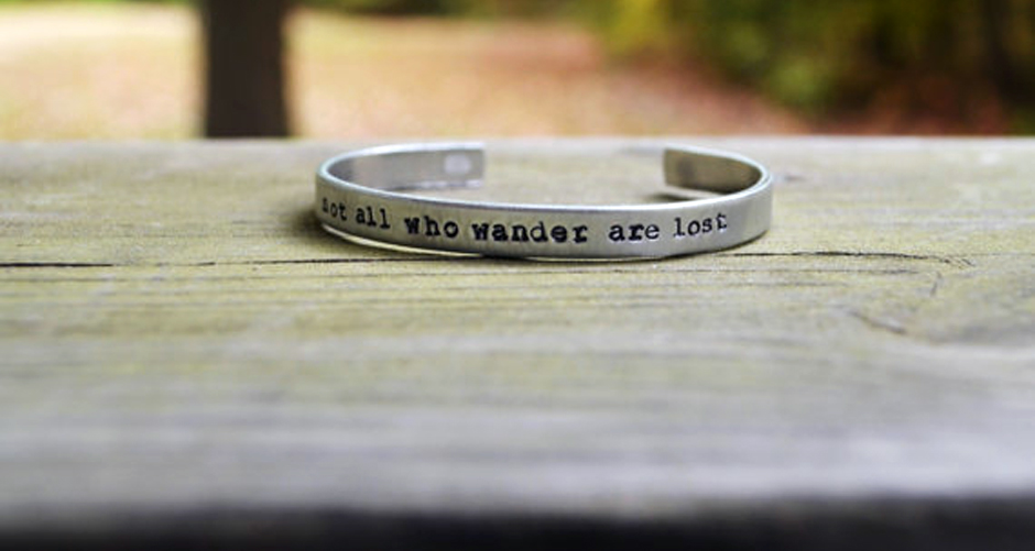 Not All Who Wander Are Lost bracelet slide