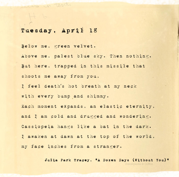 A Dozen Days (Without You), Tuesday, April 18, Julia Park Tracey
