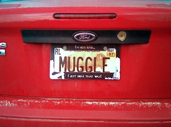 Muggle License Plate by Alex Shultz is licensed under a Creative Commons Attribution 4.0 International License.