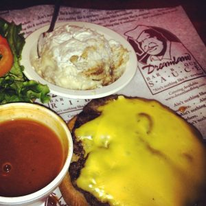 Sirloin burger with cheese, Dreamland BBQ sauce, and their ohmygoshsogood Banana Pudding. Photo credit: Wendie Burbridge