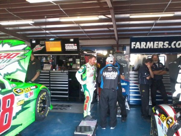 NASCAR race car driver Dale Earnhardt Jr. in the Talladega Garage before the big race. Photo Credit: Patrick Burbridge