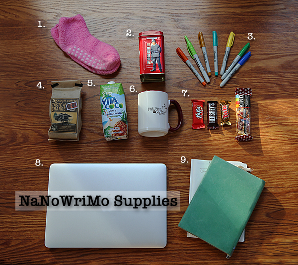 Writer supplies for NaNoWriMo