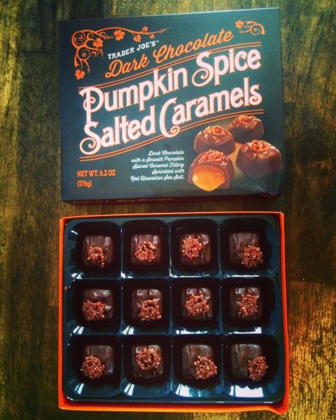 6) Dark Chocolate Pumpkin Spice Salted Caramels