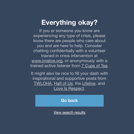 Tumblr depression search screen