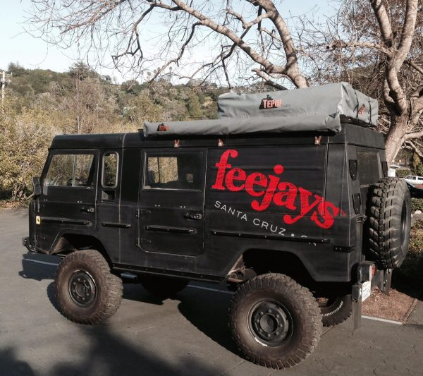 """It's a feejaymobile! My firefighter buddy outfitted his military grade Volvo into a promotional camping vehicle. We bring it to all kinds of events to advertise feejays. It comes equipped with a Tepui tent and awning, solar panels, and shower. It turns a lot of heads as you can imagine."""