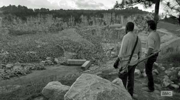 Walking Dead S6E1 Rick and Morgan at the quarry