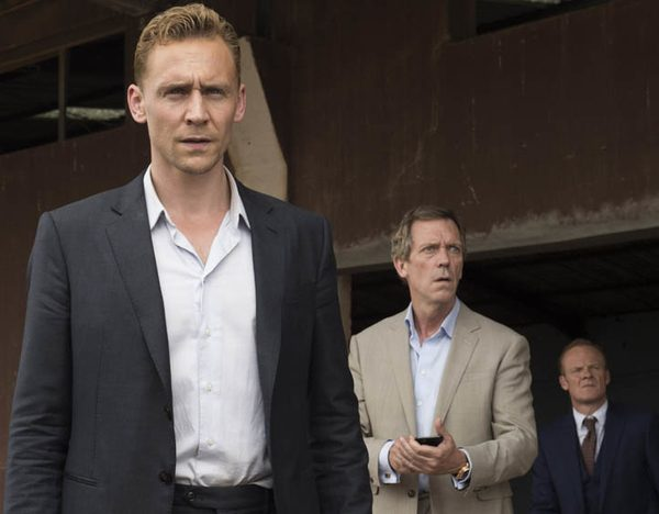 WARNING: Embargoed for publication until 00:00:01 on 22/03/2016 - Programme Name: The Night Manager - TX: 27/03/2016 - Episode: The Night Manager (No. Ep 6) - Picture Shows: *STRICTLY NOT FOR PUBLICATION UNTIL 00:01HRS, TUESDAY 22ND MARCH, 2016* Jonathan Pine (TOM HIDDLESTON), Roper (HUGH LAURIE), Langbourne (ALISTAIR PETRIE) - (C) The Ink Factory - Photographer: Des Willie