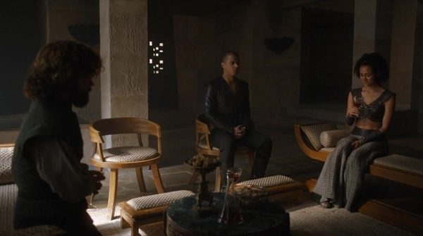 Photo 1. GoT 6x8 Tyrion, Grey Worm, and Missandei