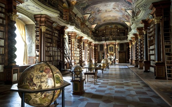 Baroque library hall with ceiling artwork by Jan Hiebl, Clementinum, Prague, Czech Republic