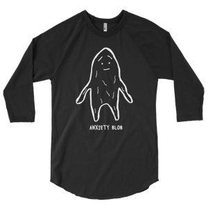 Anxiety Blob 3/4 sleeve raglan shirt