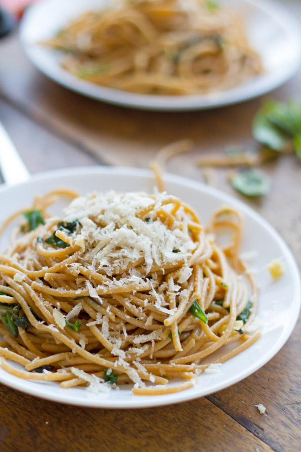 3. Garlic Butter Spaghetti with Herbs by Pinch of Yum