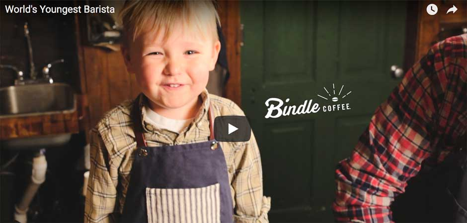 Adorable toddler barista