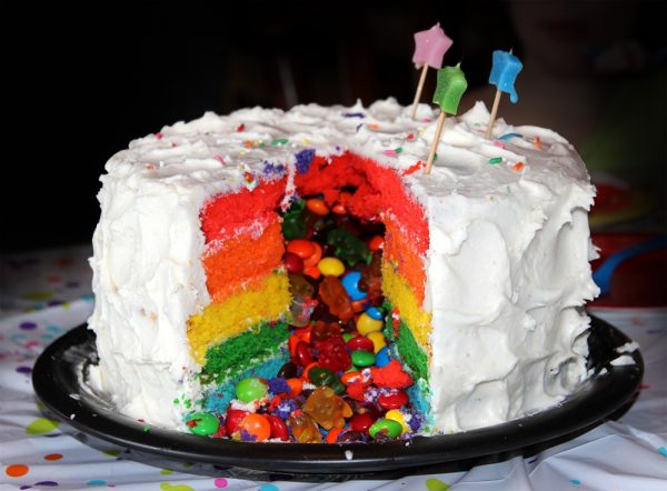 Rainbow cake with candy filling