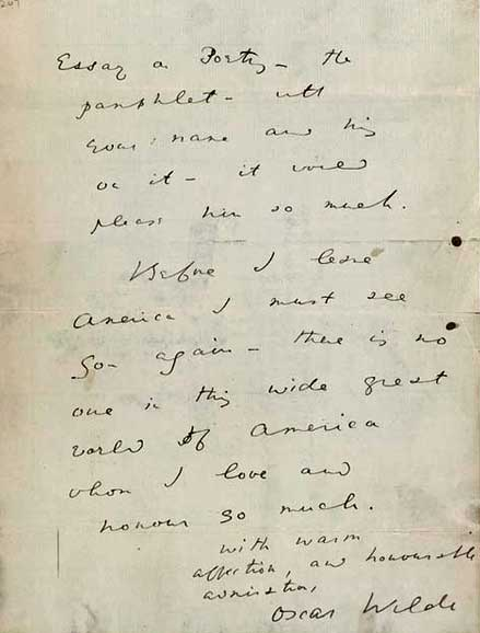 Oscar Wilde letter