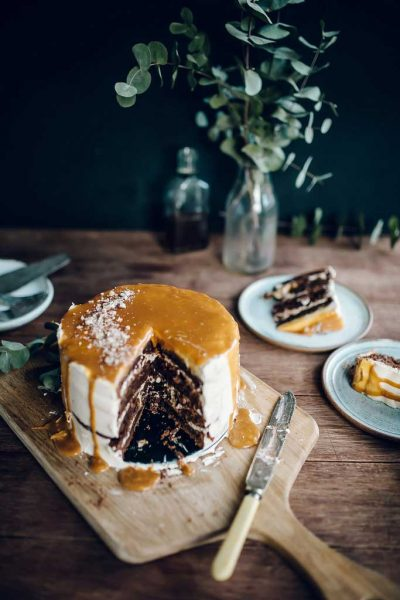 Chocolate Whiskey Cake With Salted Caramel Buttercream by Jet & Indigo