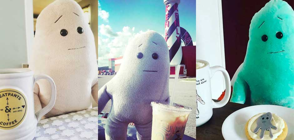 Anxiety Blobs Drinking Coffee