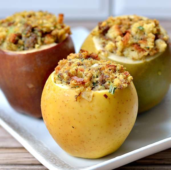 Savory Baked Apples with Sausage Stuffing