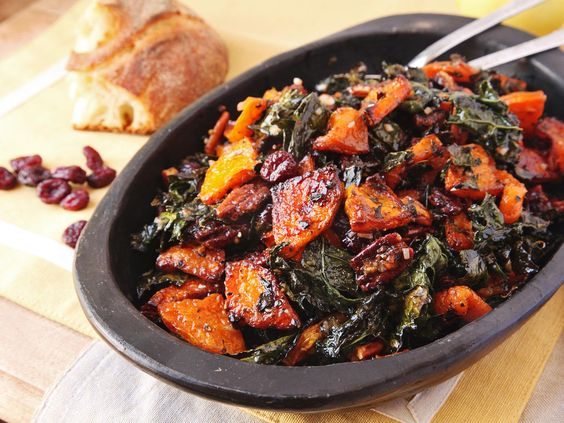 Make-Ahead Roasted Squash and Kale Salad With Spiced Nuts, Cranberries, and Maple Vinaigrette by Serious Eats