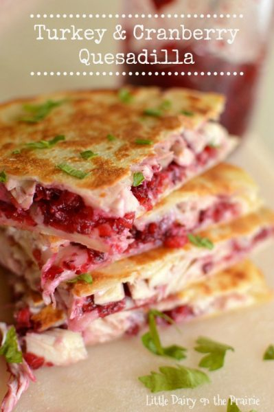 Turkey and Cranberry Quesadillas by Little Dairy on the Prairie