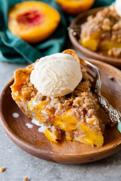 Brown Sugar Peach Crumble Pie by Sally's Baking Addiction