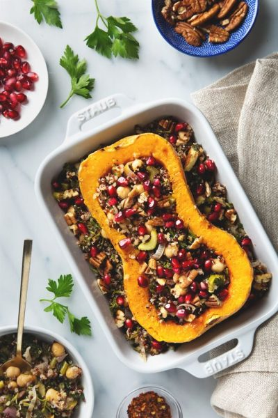STUFFED BUTTERNUT SQUASH WITH QUINOA SALAD by Pickles & Honey
