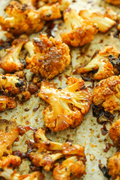 Sweet and Spicy Baked Cauliflower by The Fitchen Thanksgiving sides