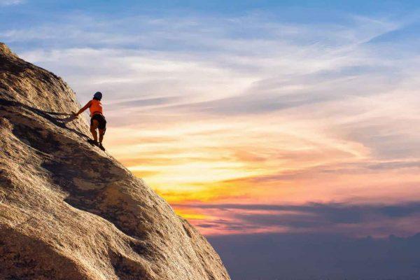 Rock climbing view sunset