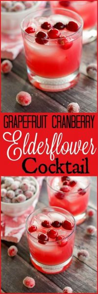 Grapefruit Cranberry Elderflower Cocktail by Home & Plate