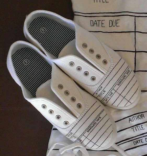Library Due Date Card Shoes by ShopJustWish