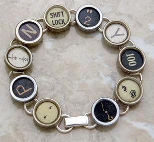 Recycled Typewriter Key Bracelet by JoySparksDesigns