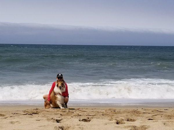 Julie & Ozzie at beach