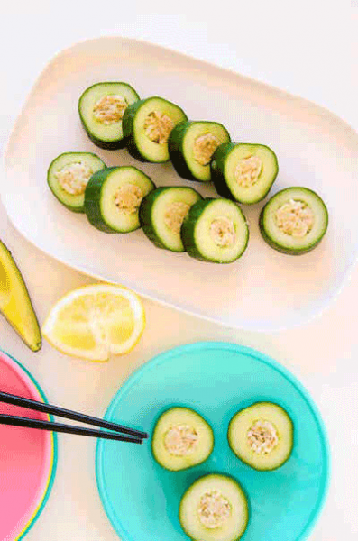 No Seaweed Cucumber Sushi for Kids by My Kids Lick the Bowl