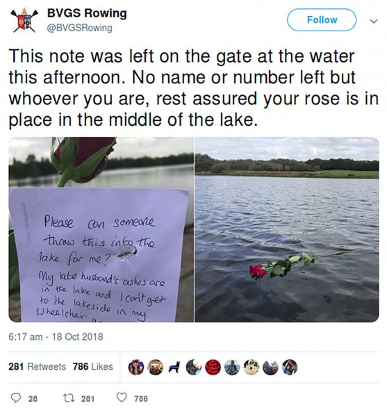 12-throw-rose-in-lake-husband's-ashes